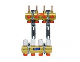 """GIACOMINI R553F szelepes osztó-gyűjtő, 3 körös, áramlásmérővel, eurok, 1""""x3/4"""""""
