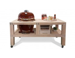 "Broil King Kerámia grill - Kamado Chef grill asztal 19""-os kamado grillhez - tölgy vintage white"