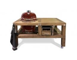 """Broil King Kerámia grill - Kamado Chef grill asztal 19""""-os kamado grillhez - tölgy mocha"""