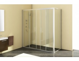 Kolpa San - Q - LINE TV/4D/S 140 Silver kétrészes átlátszó zuhanyajtó