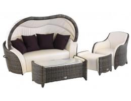 Spatrend - Luxor ülőgarnitúra (1 fotel, 1 kanapé, 1 dupla asztal üveglappal, 1 lábtartó)