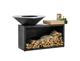 Broil King Faszenes grill - OFYR ISLAND BLACK 100-100 - fatárolóval és vágódeszkával